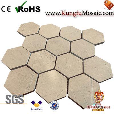 Polonais 3 mosaïque de marbre beige de pouce