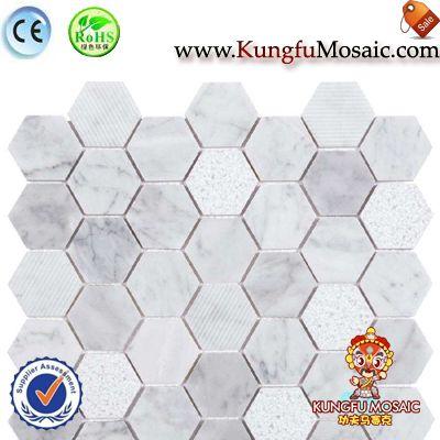 Hexágono de mosaico mármol blanco