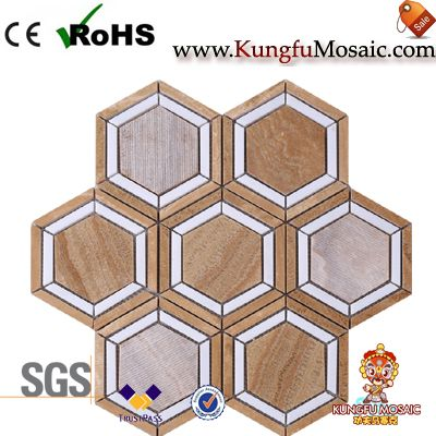 Yellow Wooden Onyx Mosaic Hexagon Tiles