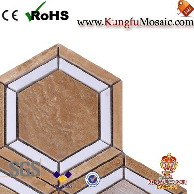 Yellow Wooden Onyx Mosaic Hexagon Tiles