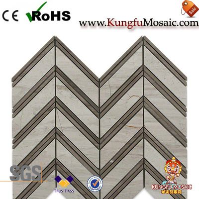 athens marble mosaic tiles herringbone