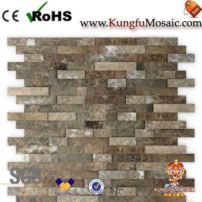brown marble stone mosaic tile backsplash
