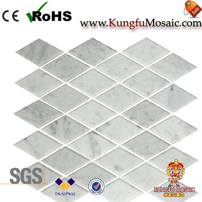 diamond carrara marble mosaic honed