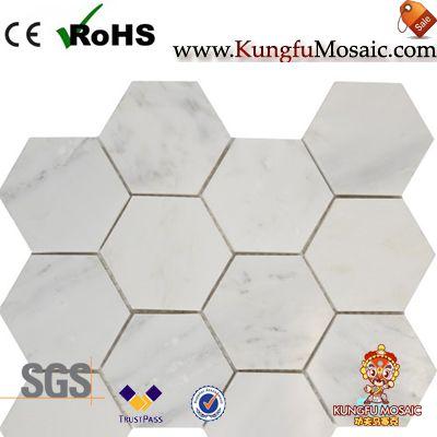 Polaco 3 pulgada saquíva de mármol carrara hexágono
