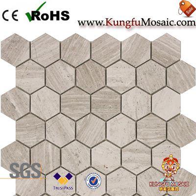 hexágono mosaico de mármol de roble blanco