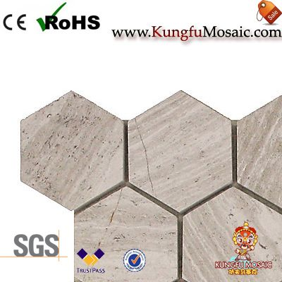 white oak marble mosaic tile hexagon