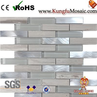 деревянный мрамор и стеклянная мозаика плитка