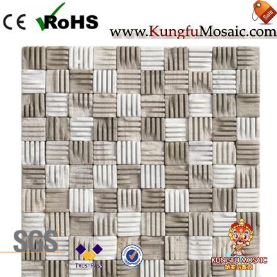 Beige 3D Marble Mosaic Wall Panel
