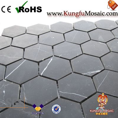 Black Marquina Marble Mosaic Hexagon