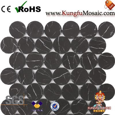 Bubble Round Marble Mosaic Tile Black