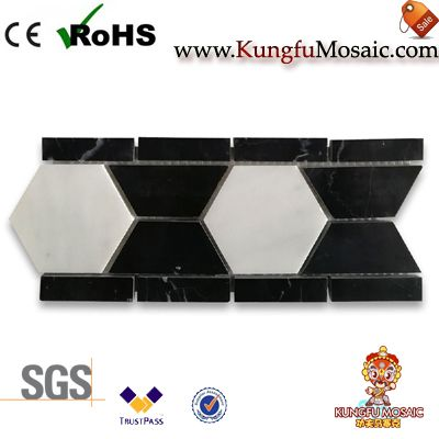 Carrara And Marquina Marble Border Tile