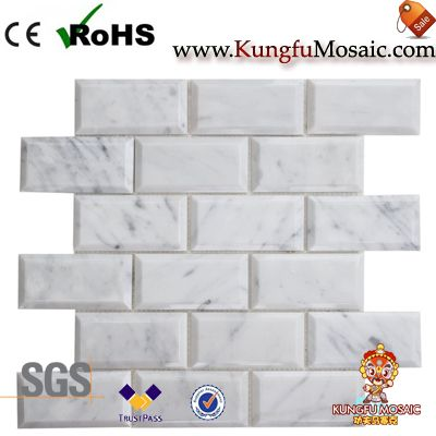 Carrara Marble Mosaic Beveled Brick China