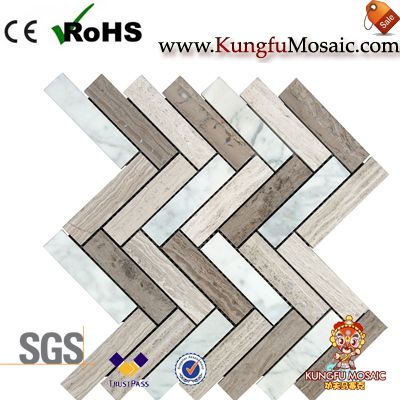 Colorful Light Marble Mosaic Herringbone Tiles