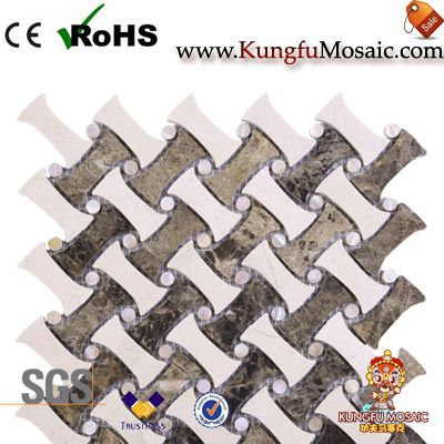 Cross Weave Marble Mosaic Backsplash Tiles