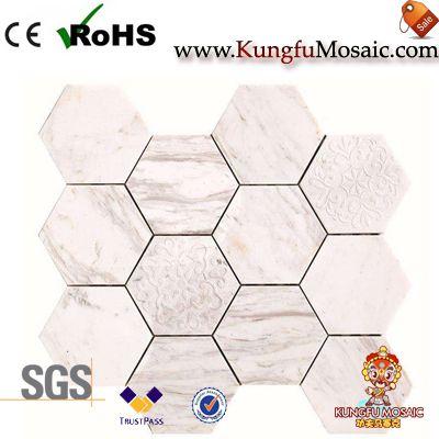 Flower Carvings White Marble Hexagon Tiles