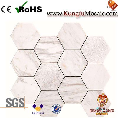 Flower Carvings White Marble Hexagon Tiles