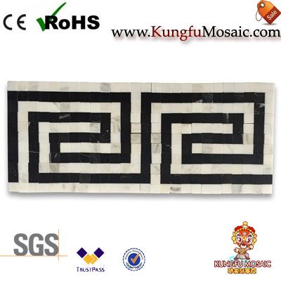Mosaïque de frontière de marbre blanc de Listello