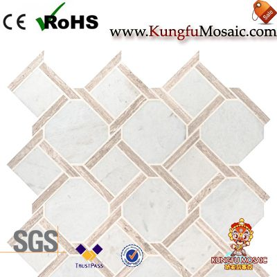 Mesh Mounted White Marble Mosaic Wall