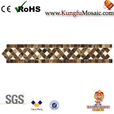 Spain Brown Marble Border Mosaic Tile