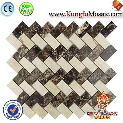 Wall Beige Marble Mosaic Herringbone