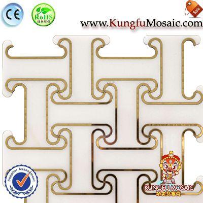 Waterjet Marble Mosaic Flooring Tiles