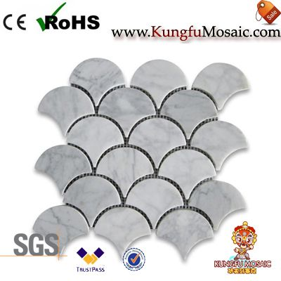 White Carrara Marble Mosaic Fan Shape