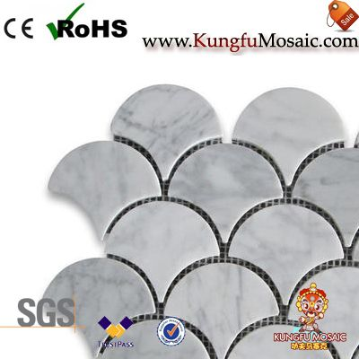 White Carrara Marble Mosaic Fan ShapeWhite Carrara Marble Mosaic Fan Shape