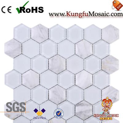White Glass And Carrara Marble Mosaic Hexagon