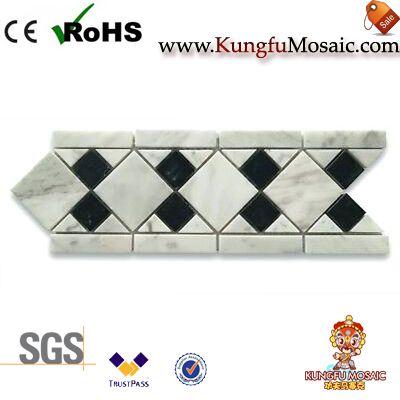 Белый Мраморная мозаика пограничная плитка Листелло