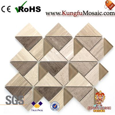 Wooden Marble Mosaic Backsplash With Glass