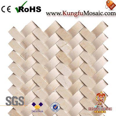 beige 3d marble mosaic tiles herringbone
