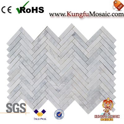 carrara white herringbone marble mosaic China