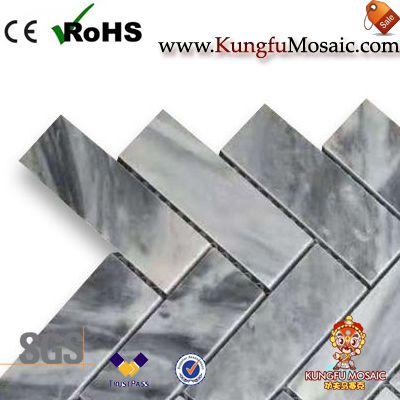 gray marble mosaic tiles herringbone