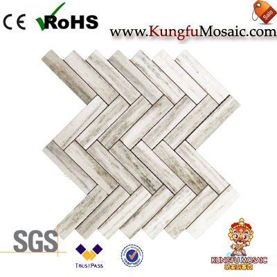 verona white Marble Mosaic Tiles Herringbone