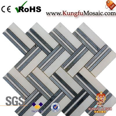 white blue marble mosaic tiles herringbone