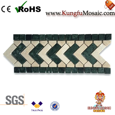 Arrow Pattern Green Marble Mosaic Border