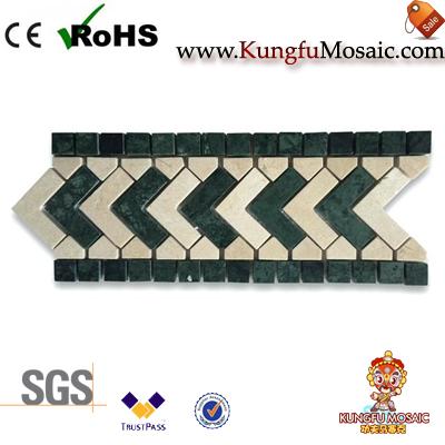 Flecha patrón verde mármol mosaico borde