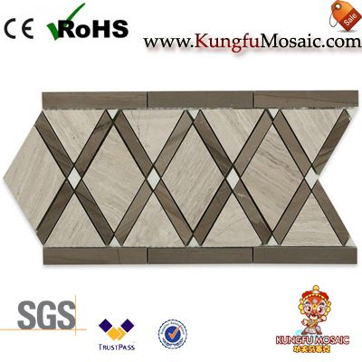 Athens Wooden Marble Mosaic Border Tiles