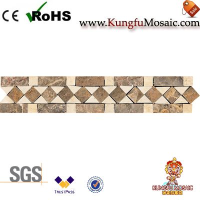 Beige Travertine Mosaic Broder Tiles