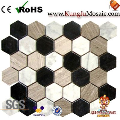 Colorful Blend Marble Mosaic Hexagon Tiles