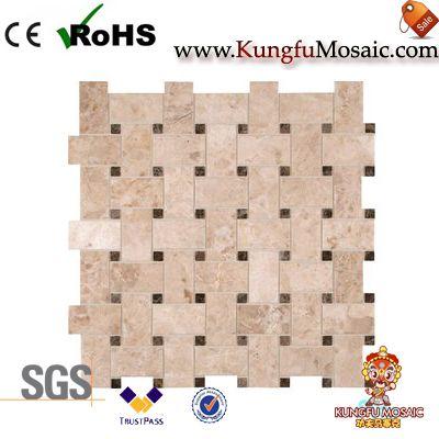 Crema Basketweave Marble Mosaic Tile