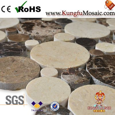 Crema Marfil Mixed Round Marble Mosaic Tiles
