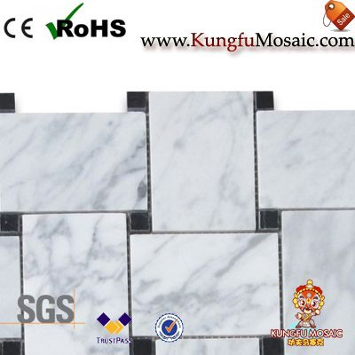 Large Basketweave White Carrara Marble Mosaic