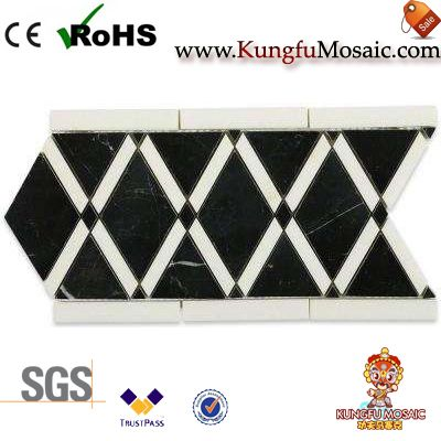 Nero Marquina Marble Mosaic Border Wall Tiles