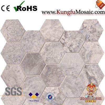 Travertine Mosaic Tiles In Hexagon