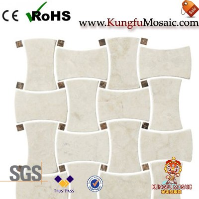 Tumbled Cream Marble Mosaic Wall Tile