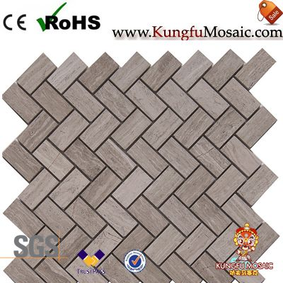 White Oak Marble Herringbone Mosaic Tiles