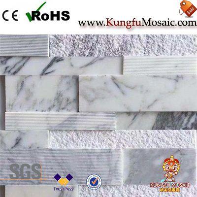 Arabescato Marble Split Mosaic Tile