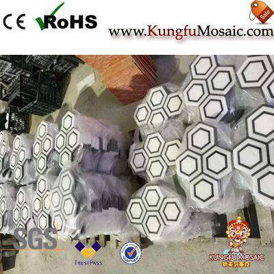 Carrara-Marquina Marble Hexagon Mosaic