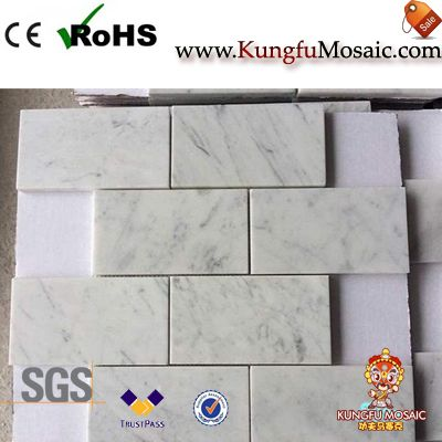 Carrara White Marble Rectangle Mosaic